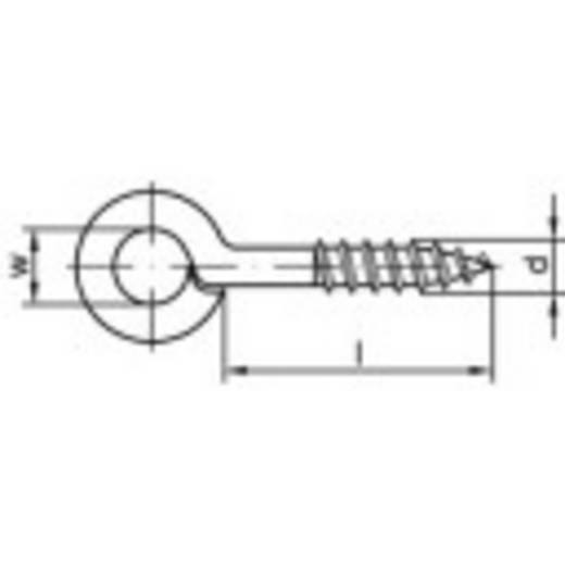 TOOLCRAFT Ringschraubösen Typ 1 (Ø x L) 3 mm x 8 mm Stahl galvanisch verzinkt 100 St.