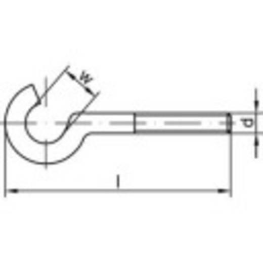 TOOLCRAFT Gebogene Schraubhaken 70 mm Stahl galvanisch verzinkt M8 100 St.