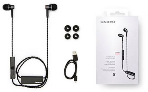 Onkyo E200BT Bluetooth® HiFi Kopfhörer In Ear Headset, Lautstärkeregelung Schwarz