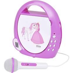 Detský CD prehrávač Silva Schneider Junior Mini AUX, CD vr. mikrofónu, biela, ružová