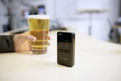 Etilometro ACE Wave Nero 0.00 fino a 4.50 mg/ml Visualizzazione tramite Smartphone, incl. display, Ora, Funzione conto