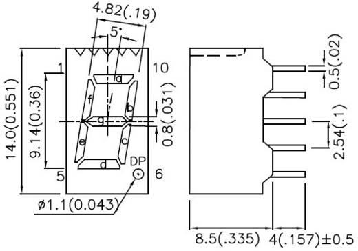7-Segment-Anzeige Rot 9 mm 1.85 V Ziffernanzahl: 1 Kingbright SA36-11SRWA