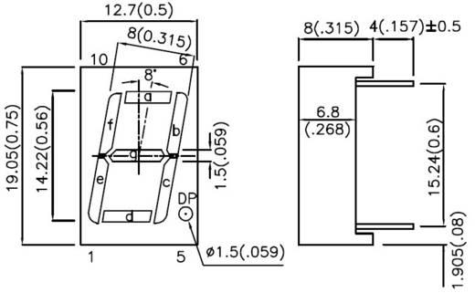 Kingbright 7-Segment-Anzeige Rot 14 mm 2 V Ziffernanzahl: 1 SA56-11EWA