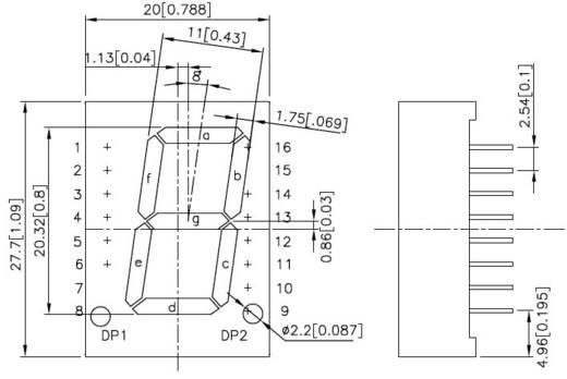 7-Segment-Anzeige Rot 20 mm 2.25 V Ziffernanzahl: 1 Kingbright SC08-11HWA