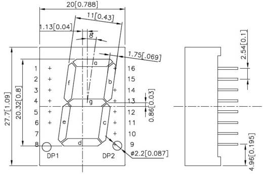 Kingbright 7-Segment-Anzeige Rot 20 mm 2 V Ziffernanzahl: 1 SC08-11EWA