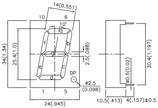 Kingbright 7-Segment-Anzeige Rot 25 mm 4.5 V, 2.25 V Ziffernanzahl: 1 SC10-21HWA