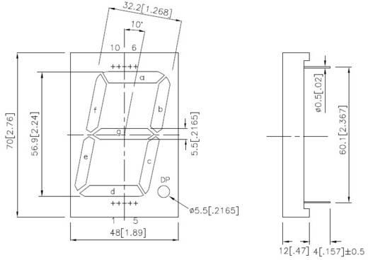 Kingbright 7-Segment-Anzeige Grün 57 mm 8.6 V, 4.4 V Ziffernanzahl: 1 SA23-12GWA