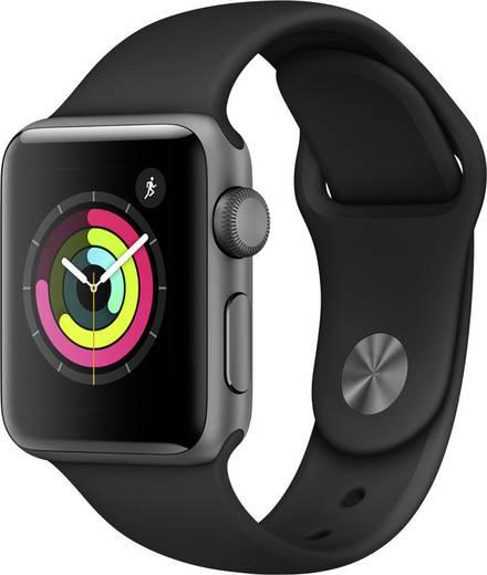 Apple Watch Series 3 38 mm Aluminiumgehäuse Spacegrau Sportarmband Schwarz
