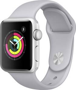Image of Apple Watch Series 3 38 mm Aluminiumgehäuse Silber Sportarmband Nebel-Grau (matt)