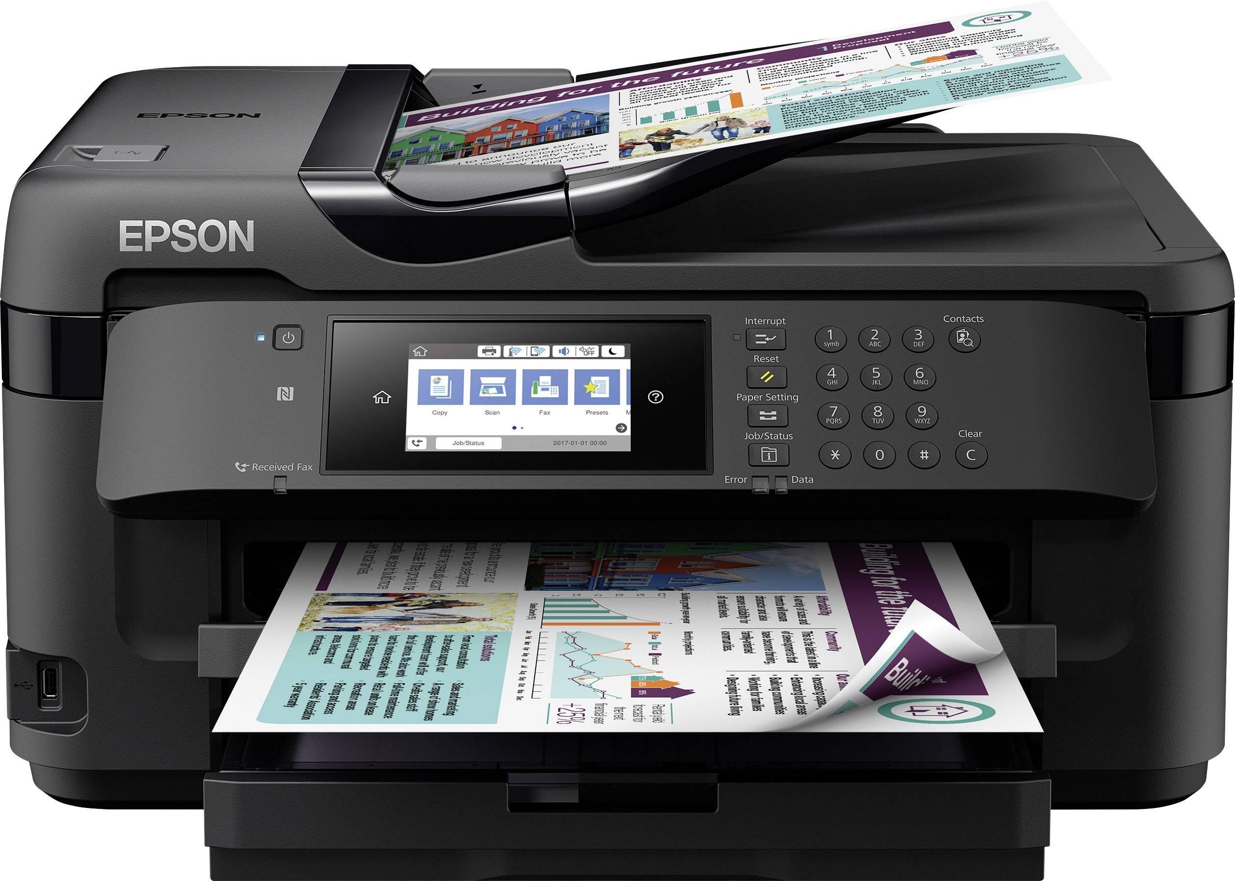 Drucker, Scanner, Kopierer, Fax, ADF, WiFi, Ethernet, NFC, Duplex, Einzelpatronen, DIN A4 Epson WorkForce Pro WF-4730DTWF 4-in-1 Business Tintenstrahl-Multifunktionsger/ät schwarz