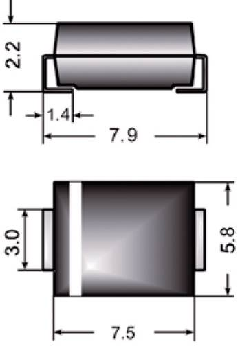 Z-Diode Z3SMC6.8 Gehäuseart (Halbleiter) DO-214AB Semikron Zener-Spannung 6.8 V Leistung (max) P(TOT) 3 W
