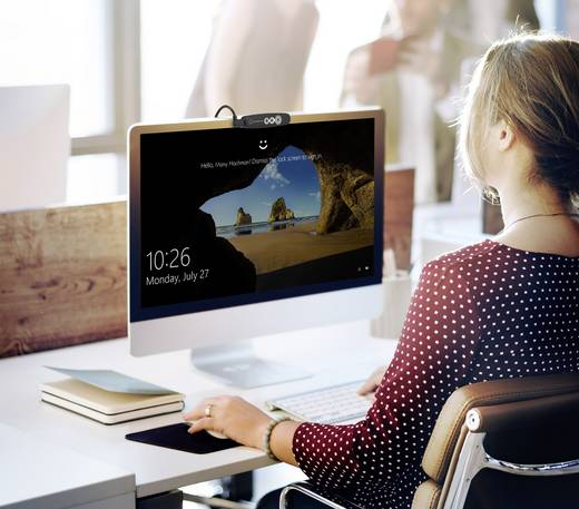 Webcam 1280 x 720 Pixel Renkforce RF-WEC-720P Gesichtserkennung für Windows Hello, Magnet-Halterung mit Infrarotkamera