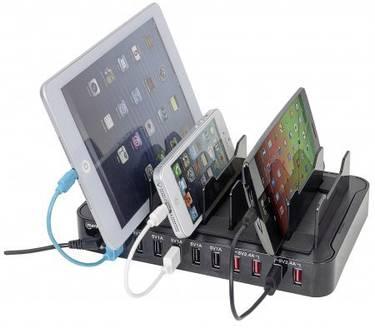 An diese USB-Multi-Ladestation können viele Endgeräte platzsparend angeschlossen werden