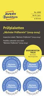 Autocollant attestant le contrôle Nächster Prüftermin 2019-2024 bleu Film autocollant (Ø) 30 mm 30 mm 80 pc(s)