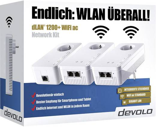 devolo dlan 1200 wifi ac network kit powerline network. Black Bedroom Furniture Sets. Home Design Ideas