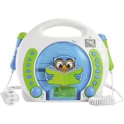 Detský CD prehrávač X4 Tech Bobby Joey Lese Eule USB, SD vr. mikrofónu, vr. karaoke, modrá, biela