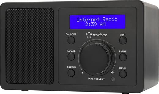 Internet Tischradio Renkforce RF-IR-MONO1 Bluetooth®, AUX, Internetradio, WLAN DLNA-fähig Schwarz