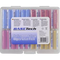 Mikrotužková batérie typu AAA alkalicko-mangánová Basetech 1170 mAh, 1.5 V, 48 ks