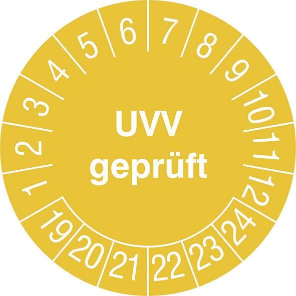 Prüfplaketten Geprüft nach UVV 15 Stück Gelb Ø 30mm