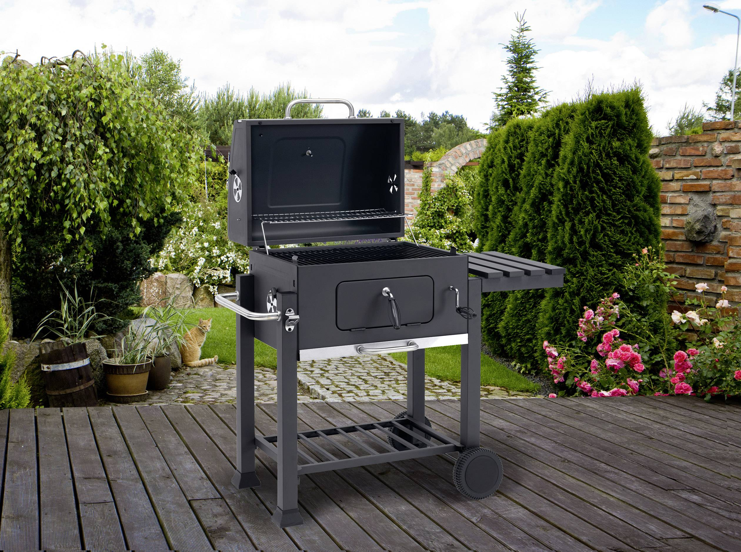 Tepro Holzkohlegrill Toronto Click 1161 : Tepro garten toronto click grillwagen holzkohle grill thermometer