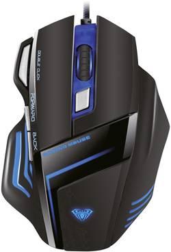Souris gaming USB optique AULA Ghost Shark Expert éclairé, ergonomique, mémoire de profil intégré noir