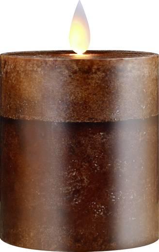 LED-Echtwachskerze Braun Warm-Weiß (Ø x H) 82 mm x 125 mm Polarlite