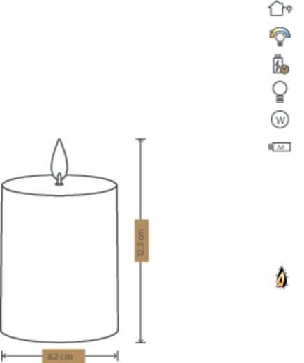 Polarlite LED-Echtwachskerze Braun Warm-Weiß (Ø x H) 82 mm x 125 mm