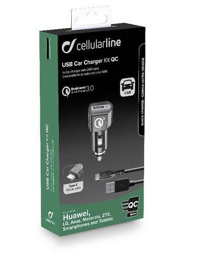 Cellularline CBRHUKITQCTYCK Kfz-Ladegerät USB 2.0, USB-A