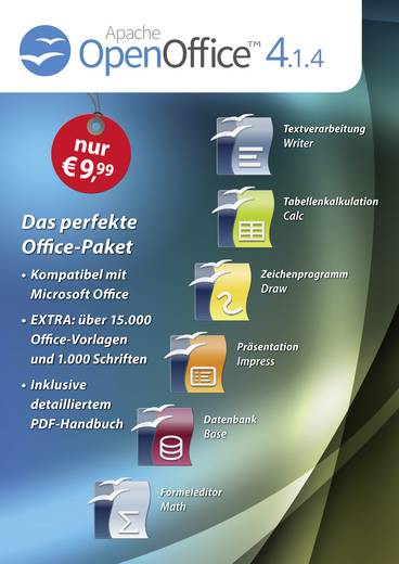 OpenOffice 4.1.4 Standard Vollversion, 1 Lizenz Windows Office-Paket