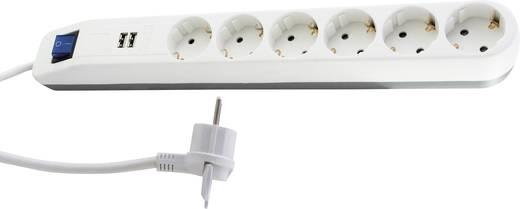 Steckdosenleiste mit Schalter 6fach Weiß-Grau Schutzkontakt REV - Everflourish 0014648100
