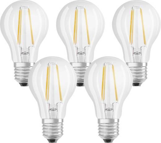 LED E27 Glühlampenform 7 W = 60 W Warmweiß (Ø x L) 60 mm x 105 mm EEK: A++ OSRAM Filament 5 St.
