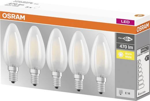 OSRAM LED E14 Kerzenform 4 W = 40 W Warmweiß (Ø x L) 35 mm x 100 mm EEK: A++ Filament 5 St.