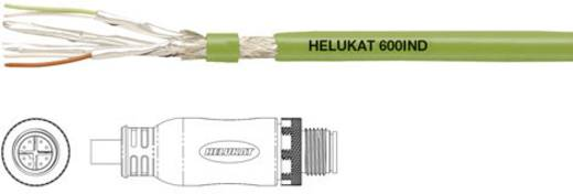 Helukabel 806636 Sensor-/Aktor-Anschlussleitung M12 Stecker, gerade 0.50 m Polzahl: 8 1 St.