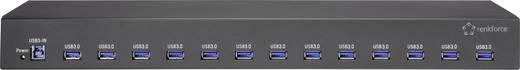 """Renkforce RF-19""""-USB3-13 13 Port USB 3.0-Hub für industrielle Anwendungen, Metallgehäuse Schwarz"""