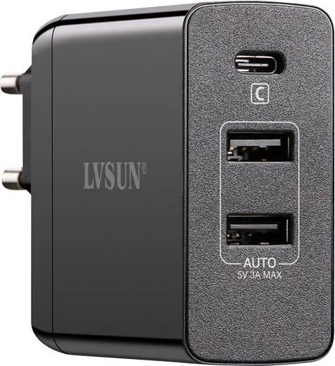 USB-Ladegerät LVSUN Travel LS-QW45-PD Steckdose Ausgangsstrom (max.) 6000 mA 3 x USB, USB-C™ Buchse USB Power Delivery (