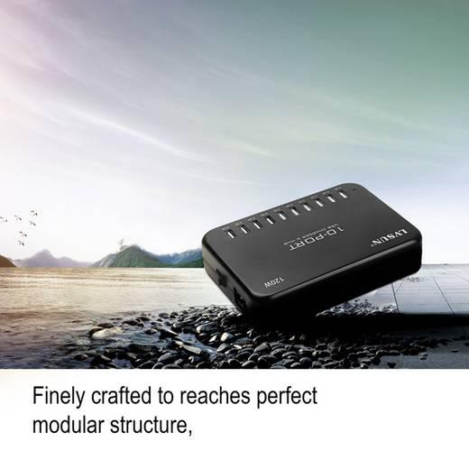 USB-Ladestation LVSUN 120W Smart 10-Port LS-10U24F-AE Steckdose Ausgangsstrom (max.) 24000 mA 10 x USB