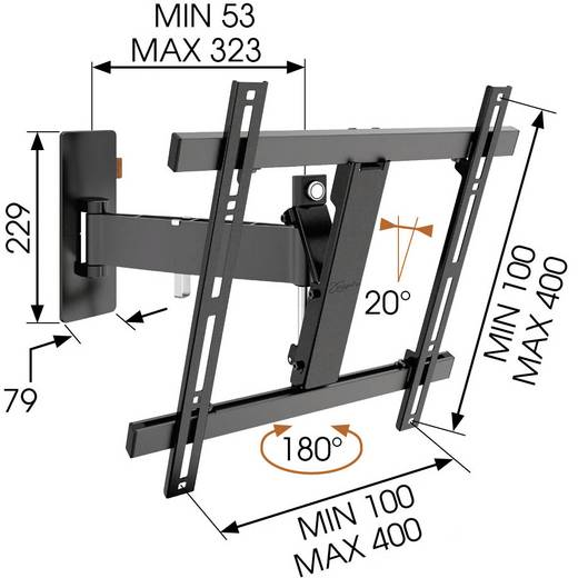 """Vogel´s WALL 3225 TV-Wandhalterung 81,3 cm (32"""") - 139,7 cm (55"""") Schwenkbar, Neigbar"""