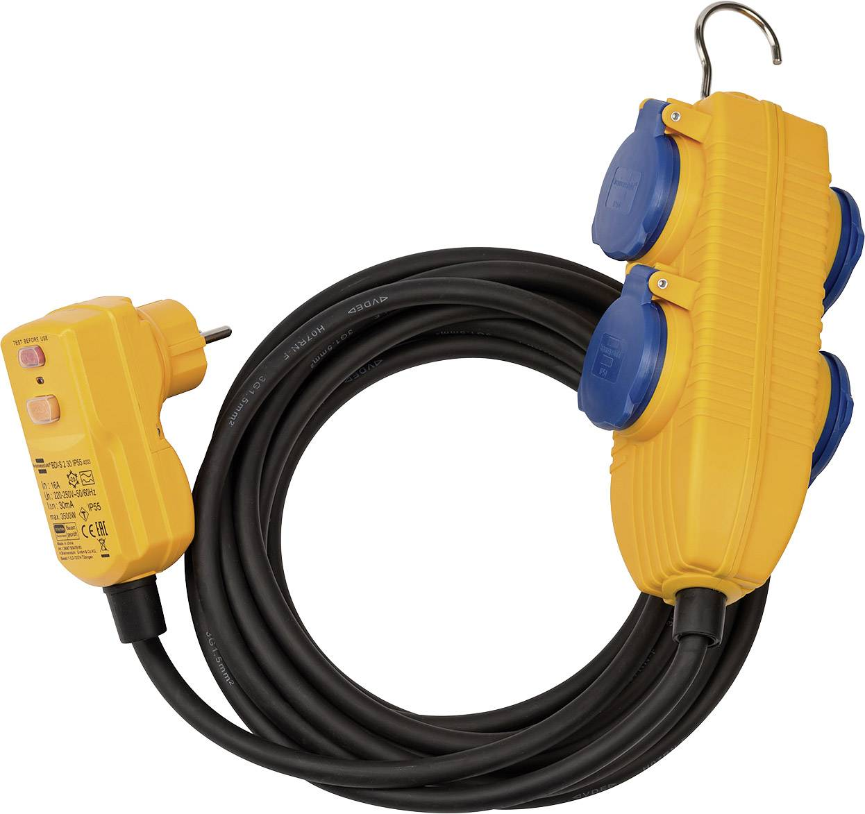 Turbo Brennenstuhl 1168720010 Strom Verlängerungskabel Schwarz, Gelb 5 m CJ05
