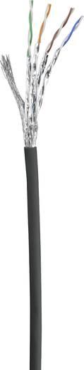RJ45 Netzwerk Anschlusskabel CAT 6 S/FTP 0.15 m Schwarz mit Rastnasenschutz, vergoldete Steckkontakte, Flammwidrig Renkf