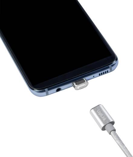 LogiLink USB 2.0 Kabel [1x USB 2.0 Stecker A - 1x USB-C™ Stecker] 1 m Silber magnetischer Stecker
