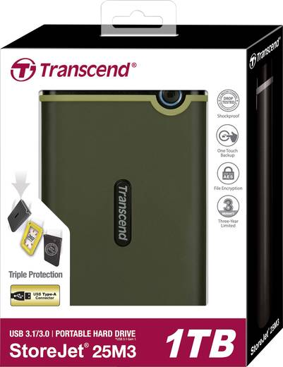 Transcend StoreJet® 25M3G Externe Festplatte 6.35 cm (2.5 Zoll) 1 TB Militär Grün USB 3.1
