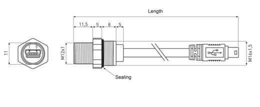 Mini USB 2.0 Typ B Chassisbuchse, Einbau 1310-0009-11 M12 encitech Inhalt: 1 St.