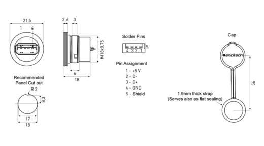 USB 2.0 Typ A Chassisbuchse, Einbau 1310-1001-01 M16 encitech Inhalt: 1 St.