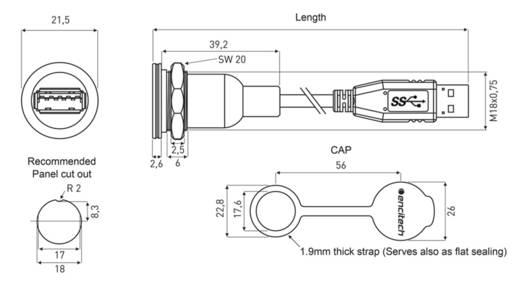USB 3.0 Typ A Chassisbuchse, Einbau M16 encitech Inhalt: 1 St.