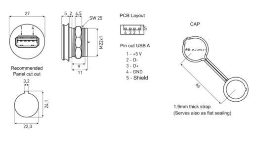 USB 2.0 Typ A Chassisbuchse, Einbau 1310-1016-01 M22 encitech Inhalt: 1 St.