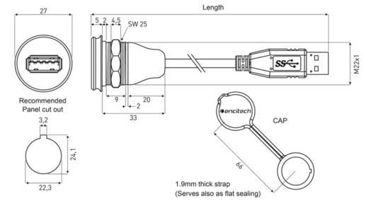USB 3.0 Typ A Chassisbuchse, Einbau 1310-1019-03 M22 encitech Inhalt: 1 St.