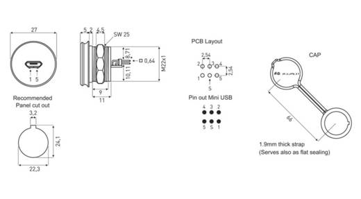 Micro USB 2.0 Typ B Chassisbuchse, Einbau 1310-1022-01 M22 encitech Inhalt: 1 St.
