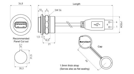 USB 2.0 Buchse A Chassisbuchse, Einbau 1310-1024-03 M30 encitech Inhalt: 1 St.