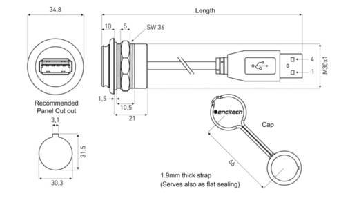 USB 2.0 Buchse A Chassisbuchse, Einbau 1310-1024-04 M30 encitech Inhalt: 1 St.