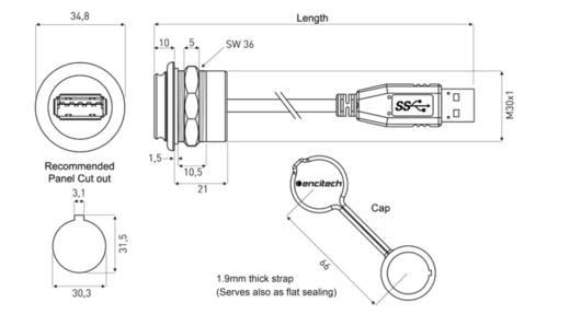 USB 3.0 Buchse A Chassisbuchse, Einbau 1310-1025-01 M30 encitech Inhalt: 1 St.